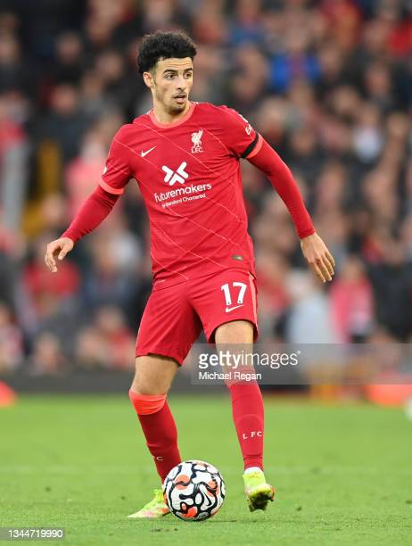 Curtis Jones of Liverpool in action during the Premier League match between Liverpool and Manchester City at Anfield on October 03, 2021 in...