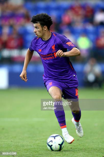 Curtis Jones of Liverpool in action during the PreSeason Friendly match between Tranmere Rovers and Liverpool at Prenton Park on July 11 2018 in...