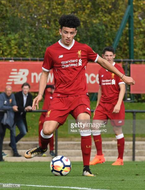 Curtis Jones of Liverpool in action during the U18 friendly match between Liverpool and Burnley at The Kirkby Academy on October 6 2017 in Kirkby...