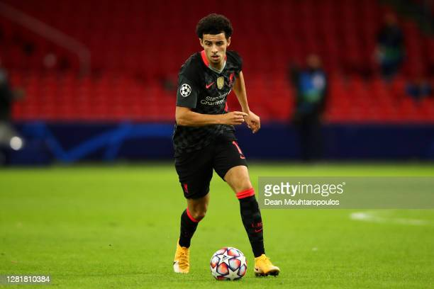 Curtis Jones of Liverpool in action during the UEFA Champions League Group D stage match between Ajax Amsterdam and Liverpool FC at Johan Cruijff...