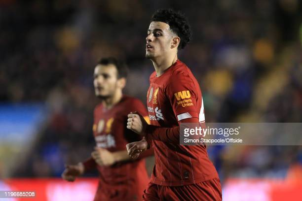 Curtis Jones of Liverpool looks on during the FA Cup Fourth Round match between Shrewsbury Town and Liverpool FC at New Meadow on January 26, 2020 in...
