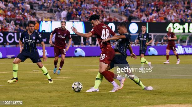 Curtis Jones of Liverpool powers through during the International Champions Cup 2018 match between Manchester City and Liverpool at MetLife Stadium...