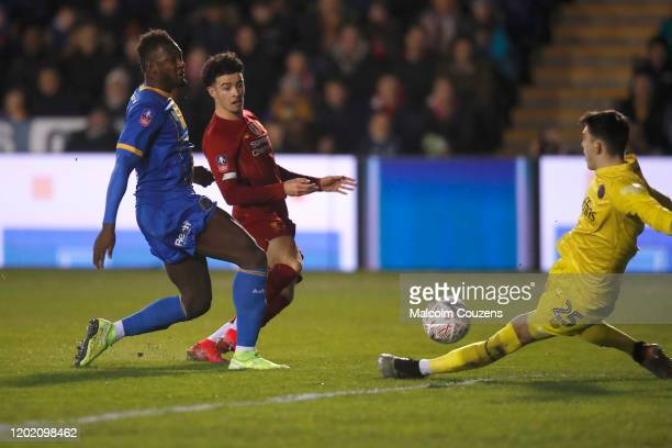 Curtis Jones of Liverpool scores a goal during the FA Cup Fourth Round match between Shrewsbury Town and Liverpool at New Meadow on January 26 2020...