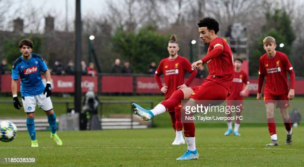 Curtis Jones of Liverpool scores Liverpool's second goal from the penalty spot during the UEFA Youth League game at The Kirkby Academy on November 27...