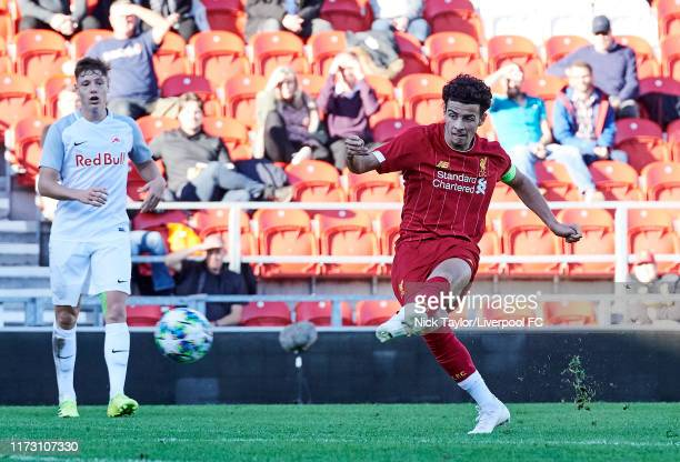 Curtis Jones of Liverpool scores Liverpool's third goal during the UEFA Youth League game at Totally Wicked Stadium on October 2 2019 in St Helens...