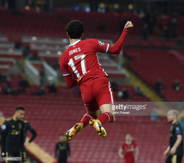 Curtis Jones of Liverpool scores the only goal and celebrates during the UEFA Champions League Group D stage match between Liverpool FC and Ajax...