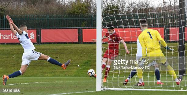 Curtis Jones of Liverpool scores the third Liverpool goal during the Liverpool v Middlesbrough U18 Premier League game at The Kirkby Academy on March...