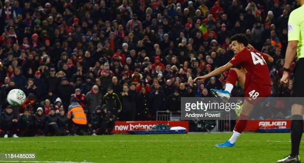 Curtis Jones of Liverpool scoring the winning penalty during the Carabao Cup Round of 16 match between Liverpool FC and Arsenal FC at Anfield on...