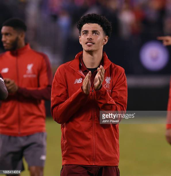 Curtis Jones of Liverpool shows his appreciation to the fans at the end of the International Champions Cup 2018 match between Manchester City and...