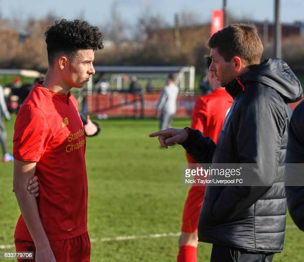 Curtis Jones of Liverpool talks with coach Steven Gerrard during the Liverpool v West Bromwich Albion U18 Premier League game at The Academy on...