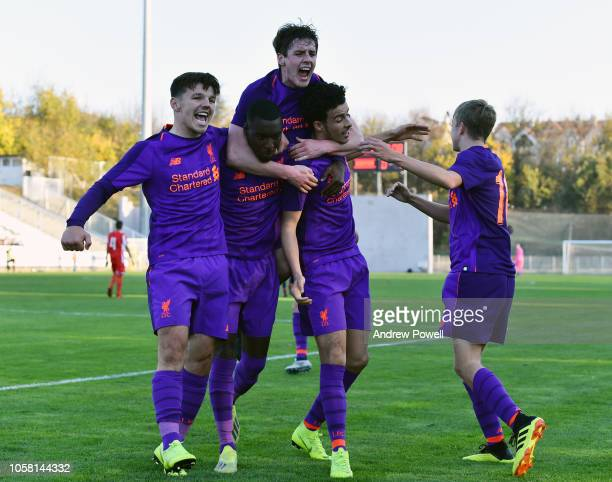 Curtis Jones of Liverpool U19 scores the opener during the UEFA Youth League match between Red Star Belgrade U19s and Liverpool U19s at the Cukaricki...