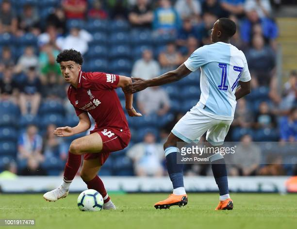 Curtis Jones of Liverpool with Amari Bell Of Blackburn during the PreSeason Friendly match between Liverpool and Blackburn at Liverpool Park on July...