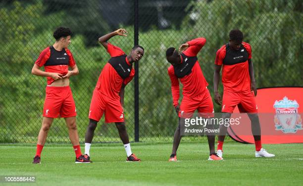 Curtis Jones Rafael Camacho Sadio Mane and Divock Origi of Liverpool during a training session at the Red Bull Training Centre on July 26 2018 in...