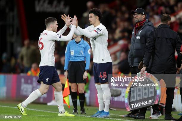 Curtis Jones replaces Andrew Robertson of Liverpool during the Premier League match between AFC Bournemouth and Liverpool FC at Vitality Stadium on...