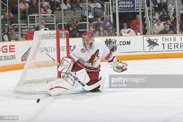 Curtis Joseph of the Phoenix Coyotes blocks a shot during a game against the San Jose Sharks on December 11 2006 at the HP Pavilion in San Jose...