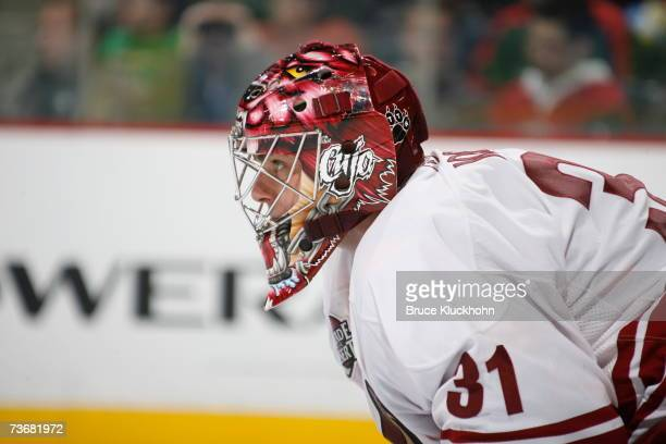 Curtis Joseph of the Phoenix Coyotes looks on against the Minnesota Wild during the game at Xcel Energy Center on March 20 2007 in Saint Paul...