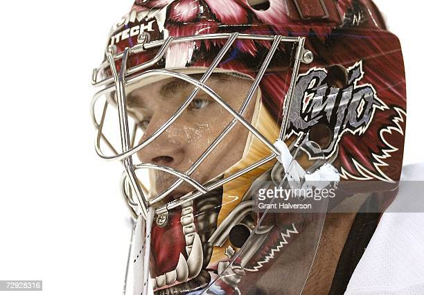 Curtis Joseph of the Phoenix Coyotes watches during a game against the Carolina Hurricanes on January 4 at the RBC Center in Raleigh North Carolina
