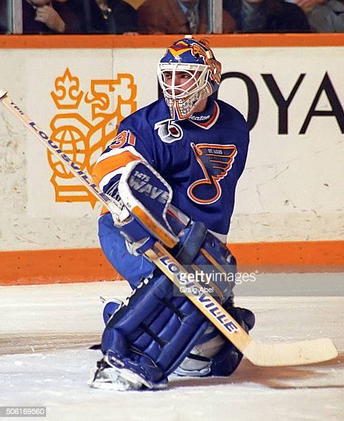 Curtis Joseph of the St Louis Blues prepares for a shot against the Toronto Maple Leafs at Maple Leaf Gardens in Toronto Ontario Canada on January 6...