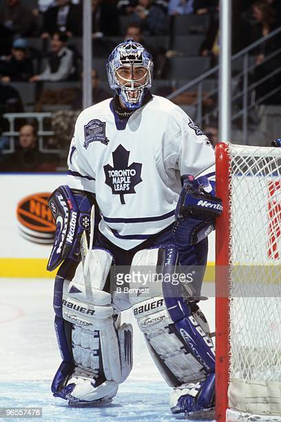 Curtis Joseph of the Toronto Maple Leafs defends the net against the Montreal Canadiens in the first game at Air Canada Centre on February 20 1999 in...