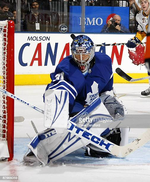 Curtis Joseph of the Toronto Maple Leafs makes a save against the Buffalo Sabres during a pre season NHL game at the Air Canada Centre September 22...