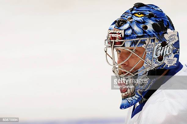 Curtis Joseph of the Toronto Maple Leafs waits in the crease during warmups prior to the game against the Los Angeles Kings during the game on...