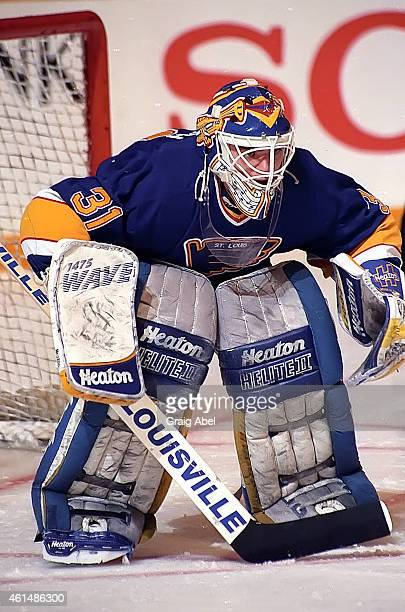 Curtis Joseph the St Louis Blues prepares for a shot against the Toronto Maple Leafs during game action on February 4 1991 at Maple Leafs Gardens in...