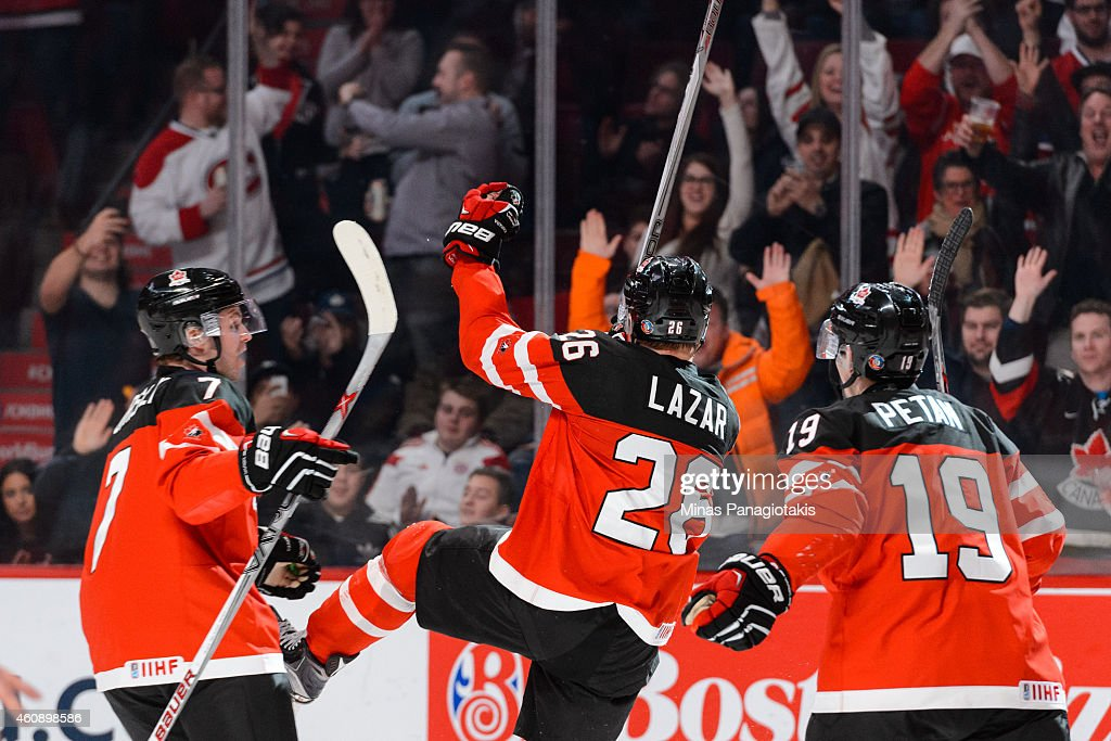 Curtis Lazar #26 of Team Canada celebrates his goal during the 2015 IIHF World Junior Hockey Championship game against Team Finland at the Bell Centre on December 29, 2014 in Montreal, Quebec, Canada. Team Canada defeated Team Finland 4-1.