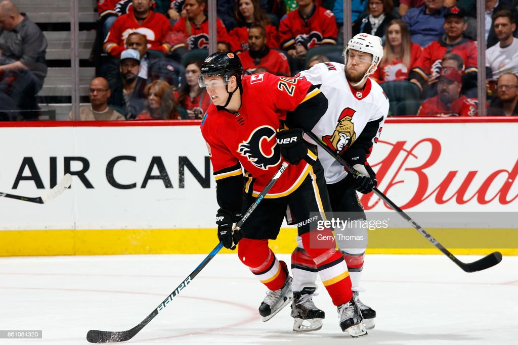 Curtis Lazar #20 of the Calgary Flames skates against the Ottawa Senators during an NHL game on October 13, 2017 at the Scotiabank Saddledome in Calgary, Alberta, Canada.