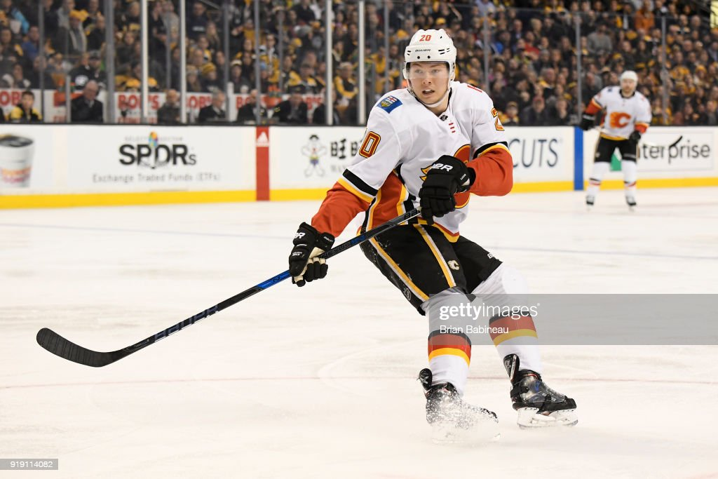 Curtis Lazar #20 of the Calgary Flames watches the play during the game against the Boston Bruins at the TD Garden on February 13, 2018 in Boston, Massachusetts.