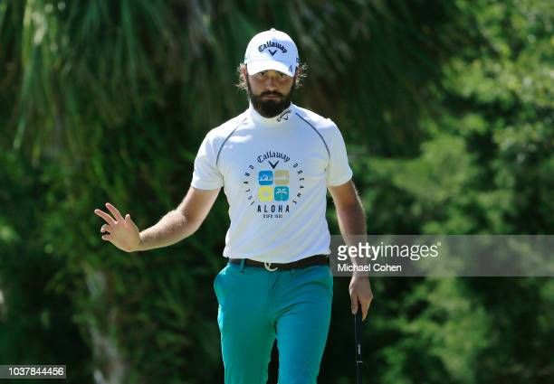 Justin Lower celebrates chipping in for par at the third hole during the third round of the Webcom Tour Championship held at Atlantic Beach Country...