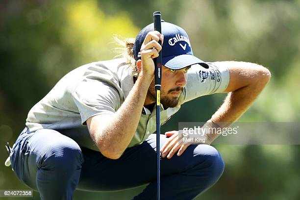 Curtis Luck of Australia lines up a putt on the 8th green during day two of the Australian Open at Royal Sydney Golf Club on November 18 2016 in...