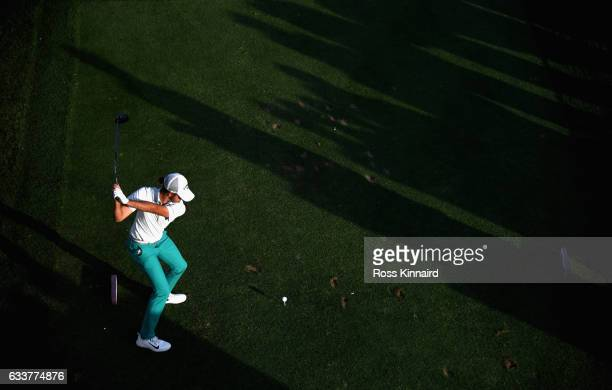 Curtis Luck of Australia on the 17th tee during the continuation of the weather delayed second round of the Omega Dubai Desert Classic at Emirates...