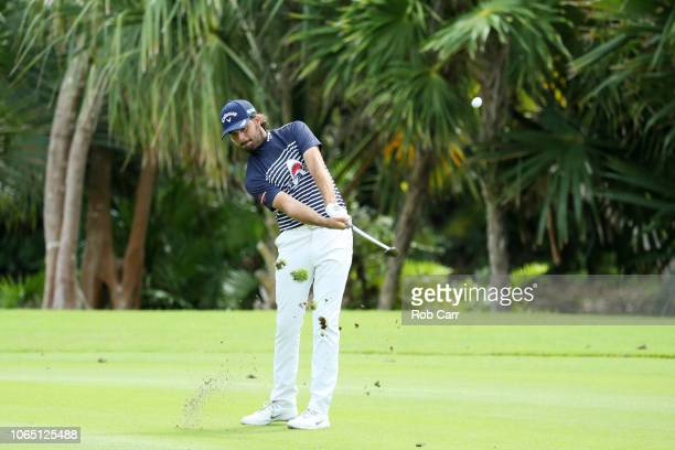 Curtis Luck of Australia plays a shot on the 17th hole during the first round of the Mayakoba Golf Classic at El Camaleon Mayakoba Golf Course on...