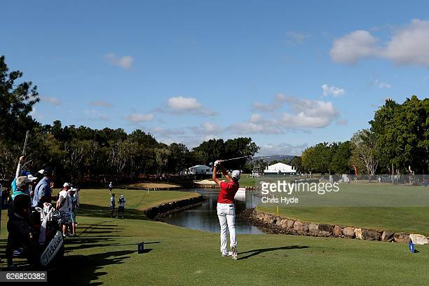 Curtis luck of Australia plays his tee shot during day one of the 2016 Australian PGA Championship at RACV Royal Pines Resort on December 1 2016 in...
