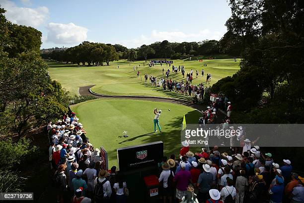 Curtis Luck of Australia tees off on the 15th hole during day one of the 2016 Australian Open at Royal Sydney Golf Club on November 17 2016 in Sydney...