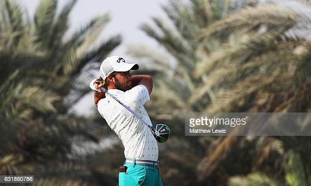Curtis Luck of Australia tees off on the 9th hole during a practice round ahead of the Abu Dhabi HSBC Championship at Abu Dhabi Golf Club on January...