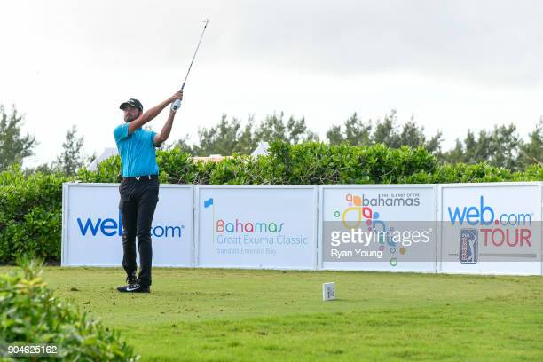 Curtis Luck tees off on the 11th hole during the first round of the Webcom Tour's The Bahamas Great Exuma Classic at Sandals Emerald Bay Emerald Reef...