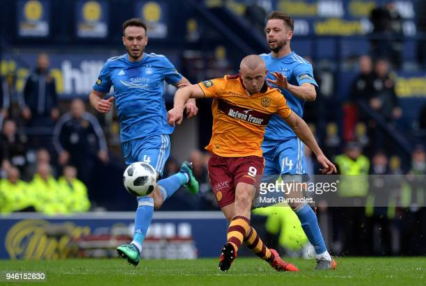 Curtis Main of Motherwell scores his second goal of the game during the Scottish Cup Semi Final match between Motherwell and Aberdeen at Hampden Park...
