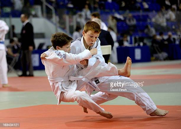Curtis Marriot of Hilbre High School threw Toby Dukes of Glynn School for ippon in 218 mins in the boys years 8/9 in the u38kgs category at the...