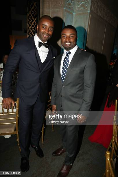 Curtis Martin and Brian Westbrook attend the 13th Annual HealthCorps Gala at Cipriani 25 Broadway on April 16 2019 in New York City