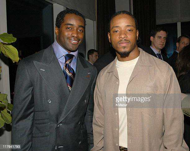Curtis Martin and Santana Moss of the NY Jets during New York Sports Night at the Esquire Apartment at The Esquire Apartment in New York City New...
