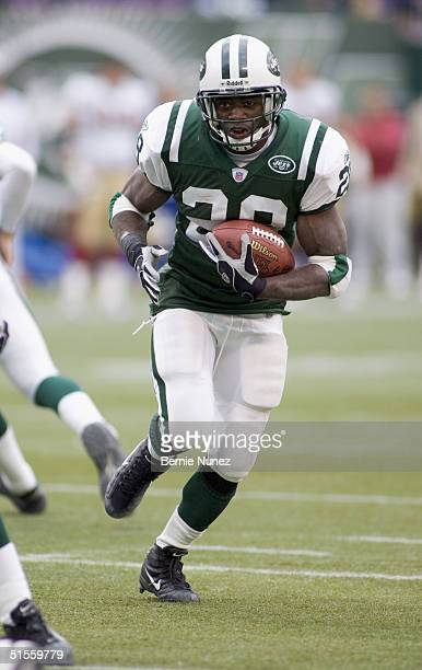 Curtis Martin of the New York Jets running in the game against the San Francisco 49ers on October 17 2004 at Giants Stadium in East Rutherford New...