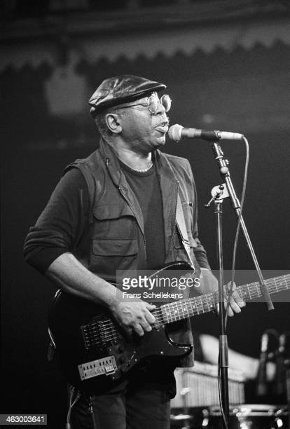 Curtis Mayfield, vocal, performs at the Paradiso in Amsterdam, the Netherlands on 1st April 1990.