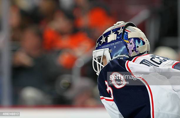Curtis McEhlhinney of the Columbus Blue Jackets looks on against the Philadelphia Flyers on November 14 2014 at the Wells Fargo Center in...