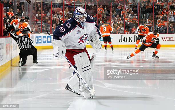 Curtis McEhlhinney of the Columbus Blue Jackets skates onto the ice for the start of the third period against the Philadelphia Flyers on November 14...