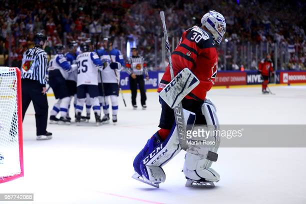 Curtis McElhinney goaltender of Canada reacts after Finland scores the opening goal during the 2018 IIHF Ice Hockey World Championship Group B game...