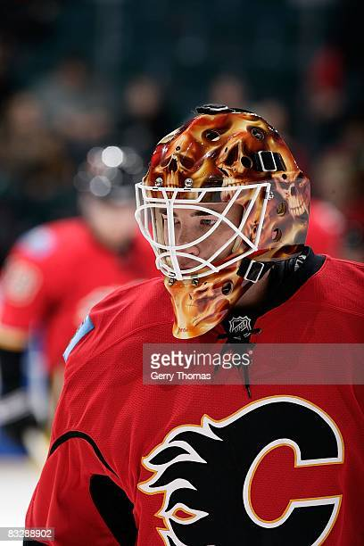 Curtis McElhinney of the Calgary Flames skates in the warmup against the Vancouver Canucks on October 11 2008 at Pengrowth Saddledome in Calgary...