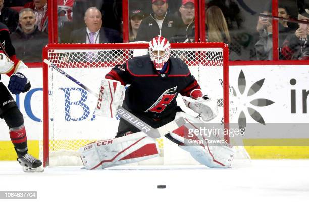 Curtis McElhinney of the Carolina Hurricanes goes down in the crease and keeps his eye on the puck during an NHL game against the Florida Panthers on...