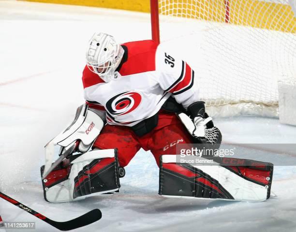 Curtis McElhinney of the Carolina Hurricanes skates against the Philadelphia Flyers at the Wells Fargo Center on April 06 2019 in Philadelphia...