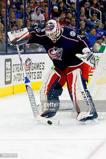 Curtis McElhinney of the Columbus Blue Jackets controls the puck during the game against the New York Rangers on January 7 2017 at Nationwide Arena...